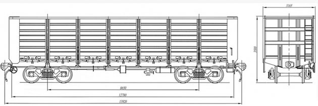 4-осный полувагон, модель 12-1302