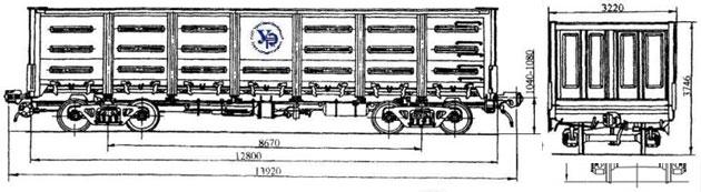 4-осный цельнометаллический полувагон с уширенными дверными проемами, модель 12-757